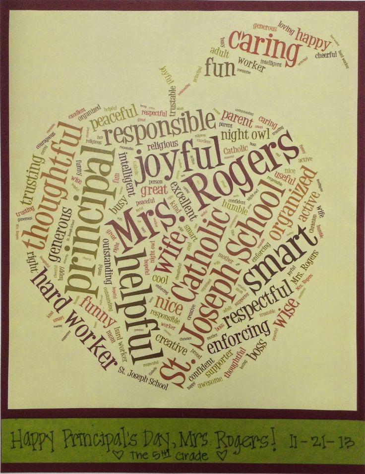 Principal Appreciation Day- Gift idea using Tagxedo to create a custom word cloud honoring your principal.