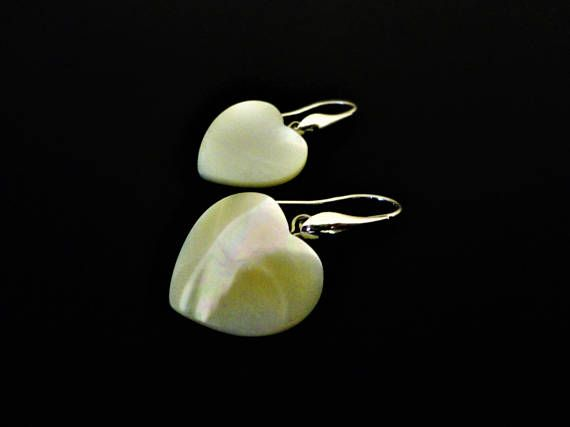 Romantic Heart Earrings with White Pearl. White Earrings.