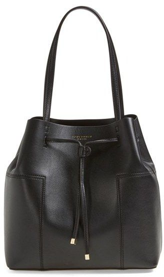 Tory Burch 'Block-T' Leather Drawstring Tote - Black