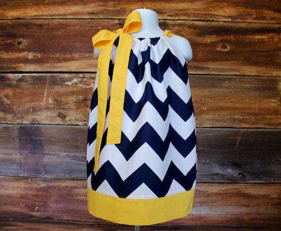 Navy and Yellow Chevron Dress -- Sizes Newborn to Child 7/8 -- by Doodlebugs and Drumsticks