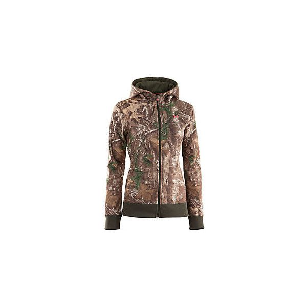 Under Armour Women's Camo Full-Zip Hoodie ($80) ❤ liked on Polyvore featuring tops, hoodies, shirts, camo, brown hoodie, under armour hoodie, camo shirts, full zip hoodie and camo hoodie