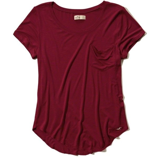 Must-Have Easy Pocket Tee Girls Tops ($18) ❤ liked on Polyvore featuring hollister