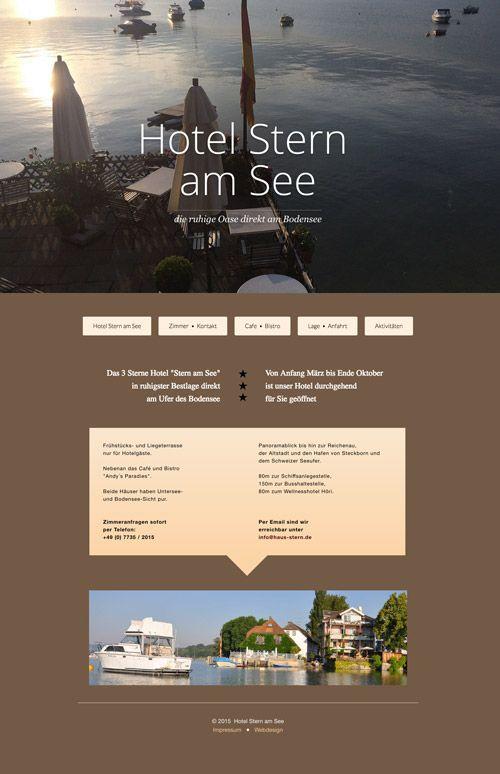 """Neue Website des Hotels """"Stern am See"""" / Bodensee  mit direkter Seelage am Untersee von März bis Oktober"""