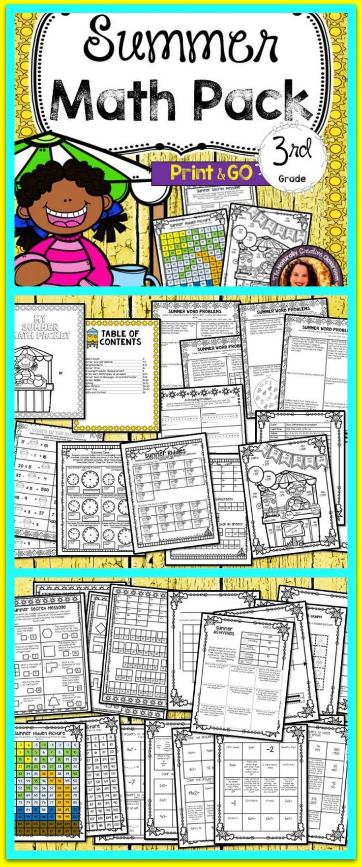 School is just around the corner!  This Summer Math Pack offers a fun and engaging way to review 3rd grade math standards, or to see what is ahead!  This packet covers 3 digit addition and subtraction, multiplication, division, time, rounding and so much more!
