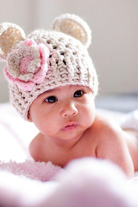 Baby Girl Crochet Hat Crochet Baby Hat Beanie Hat with by Karenisa, $18.00