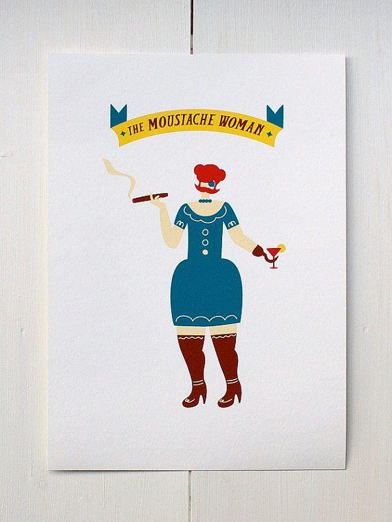 The Moustache Woman  Circus Series di MonsieurP su Etsy.