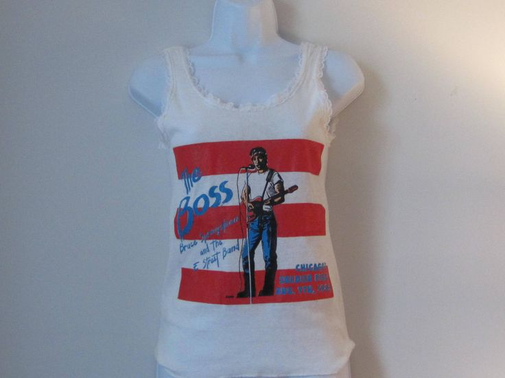 Rare! The Boss Tank Top T-shirt! Excited to share the latest addition to my #etsy shop: Super RARE New Tank T-shirt The Boss Bruce Springsteen 1985 Tour Chicago Soldier Field http://etsy.me/2BaPBJa #clothing #women #tshirt #white #junipervintageshop