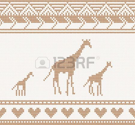 knitted pattern with giraffe seamless vector illustration