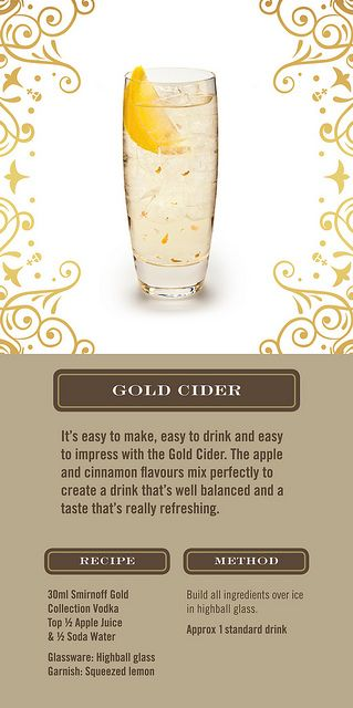 Smirnoff Gold Cocktails - Gold Cider I think I've found a cocktail for the ladies!