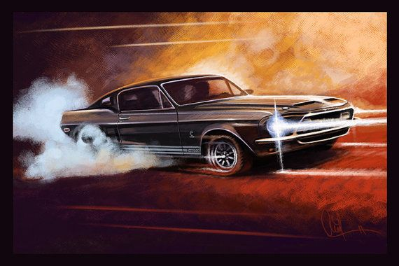 1968 Ford Shelby GT 500 Automotive Art