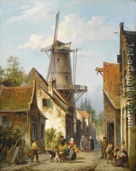 Figures In The Streets Of A Dutch Town by Cornelis Christiaan Dommelshuizen