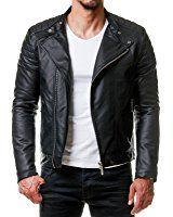 Burocs Herren Kunst-Leder-Jacke Biker Style Zipper Gesteppt Schwarz BR29