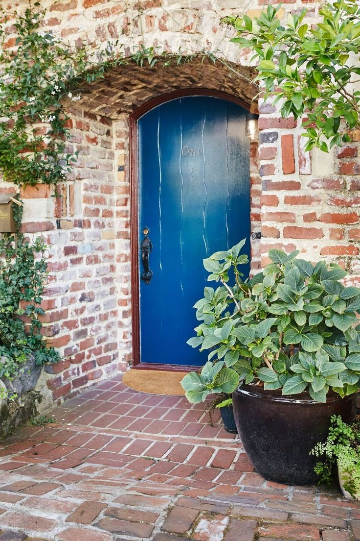 Greet guests with a brilliant blue front door.