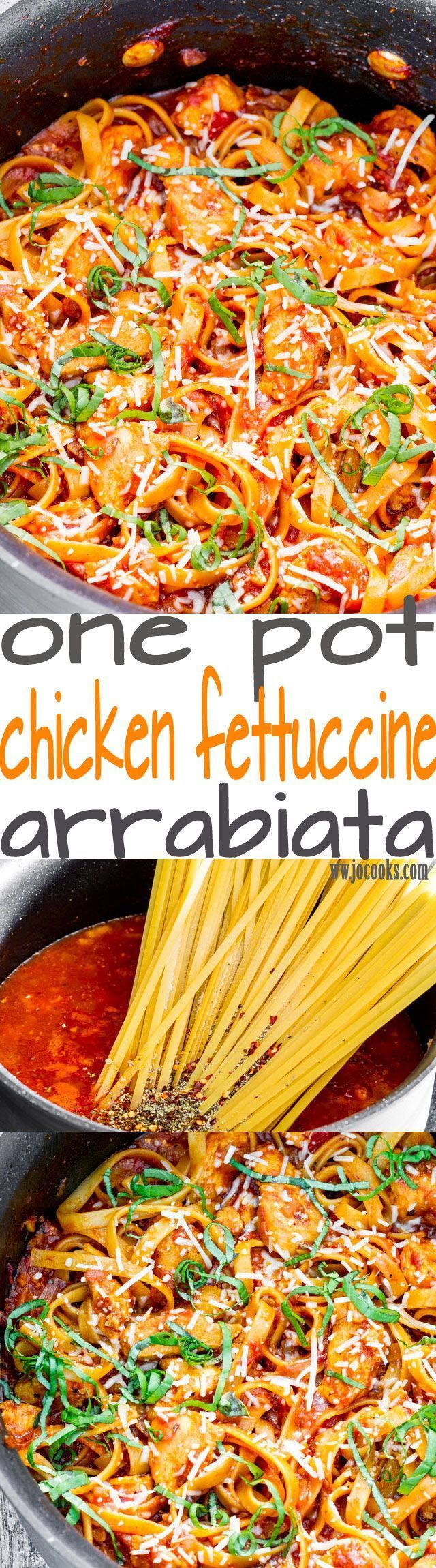 "One Pot Chicken Fettuccine Arrabiata - the name says it all, ""angry"" chicken. This fettuccine packs a lot of heat and spice and it's super delicious!"