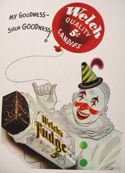 best vintage candy images vintage candy 1947 welch s chocolate covered fudge ad clown balloon vintage candy gum ads