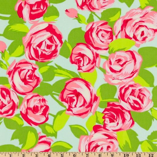Amy Butler Love Tumble Roses Pink from @fabricdotcom  Designed by Amy Butler for Westminster Fabrics, this fabric features an allover rose design. The rose measures approximately 3.00''. The color palette includes pink , citron, white, orchid, rose and aqua. This fabric is appropriate for quilting and craft projects as well as apparel and home decor accents.