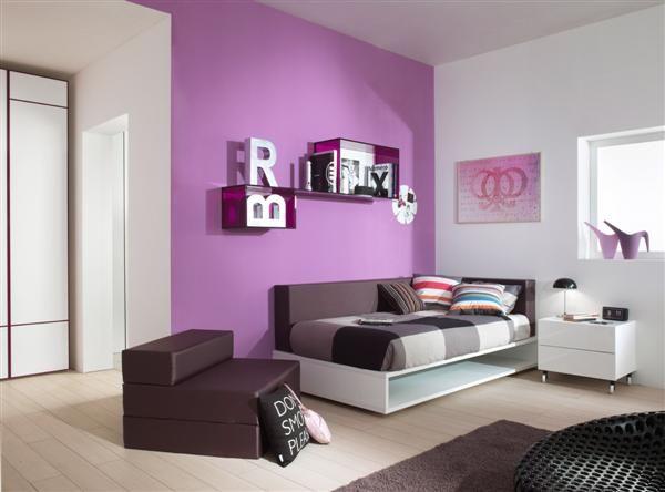 bedrooms for teens girls bright trendy chic interior design purple teen bedroom - Girly Bedroom Design
