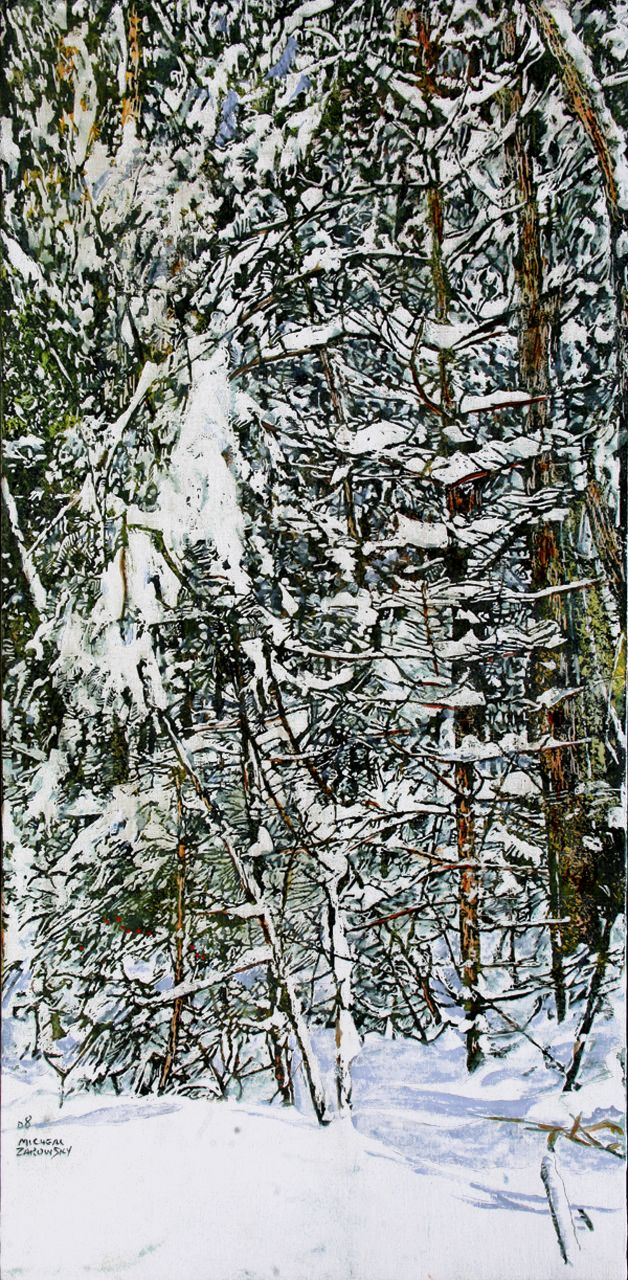 "overnight snowfall 25 36"" x 18""  micheal zarowsky / mixed media (watercolour / acrylic painted directly on gessoed birch panel) available $2100.00"