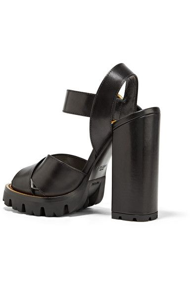 Prada - Leather Platform Sandals - SALE20 at Checkout for an extra 20% off
