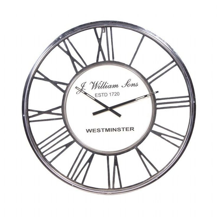 Large Chrome Metal Roman Numeral 80cm Diameter Round Wall