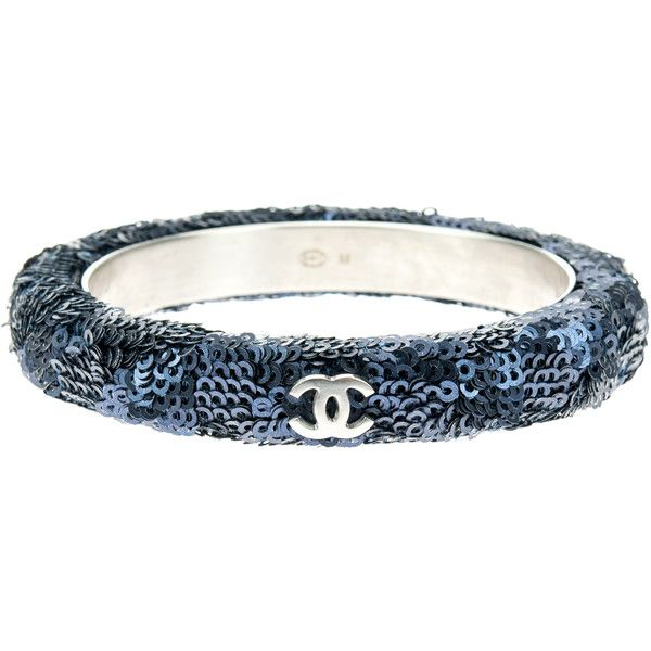Pre-owned Chanel Navy Blue Sequin Bangle ($375) ❤ liked on Polyvore featuring jewelry, bracelets, chanel jewelry, hinged bangle, navy blue jewelry, bracelets bangle and chanel jewellery