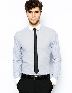 New Look Check Shirt with Contrast Collar coupled with a skinny tie