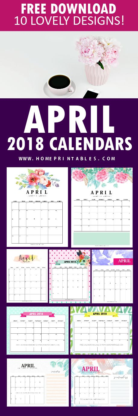 Really these are for free? Snag these 10 April 2018 calendar planners! Yes the're for free download!     #calendars #printable #freebie #April