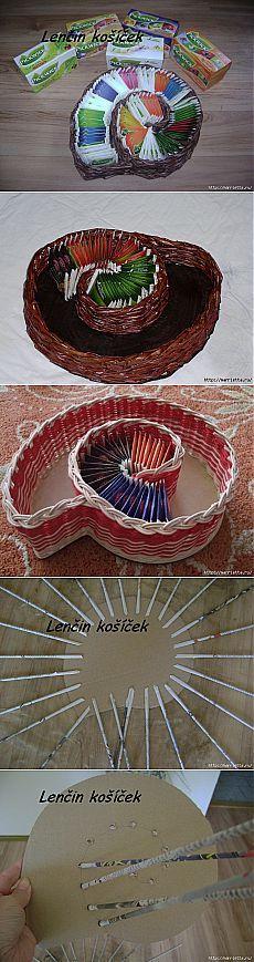 Плетение из газет. Вазочка УЛИТКА для чайных пакетиков |