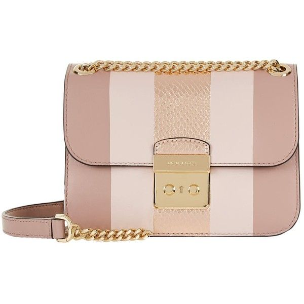 Michael Kors Small Sloan Edit Stripe Shoulder Bag (€390) ❤ liked on Polyvore featuring bags, handbags, shoulder bags, pink handbags, evening handbags, pink shoulder bag, michael kors purses and leather handbags