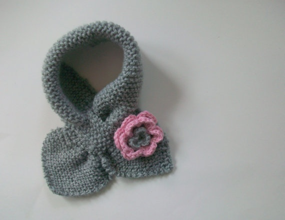 Hand knit baby/toddler/childs scarf  Bow Knot by KnitsforCuties