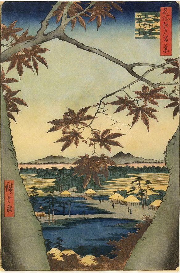 Utagawa Hiroshige(歌川 広重 1797ー1858)「The Maple Leaves of Mama」
