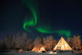 Northern Lights Over Teepees