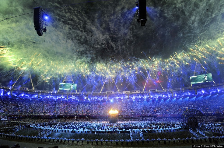 View of fireworks from inside Olympic Stadium, London