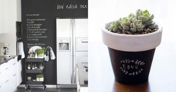 #Decoración #Ideas Algunas lindas maneras de renovar espacios u objetos con algo de pintura para pizarras.