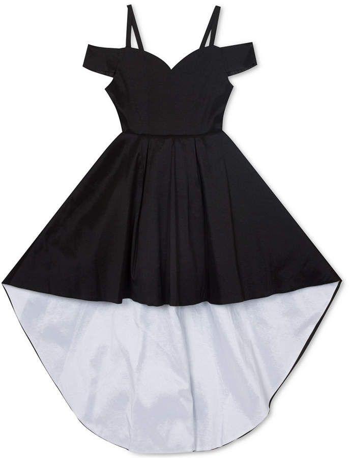 Big Girls Taffeta Cold-Shoulder High-Low Dress 3