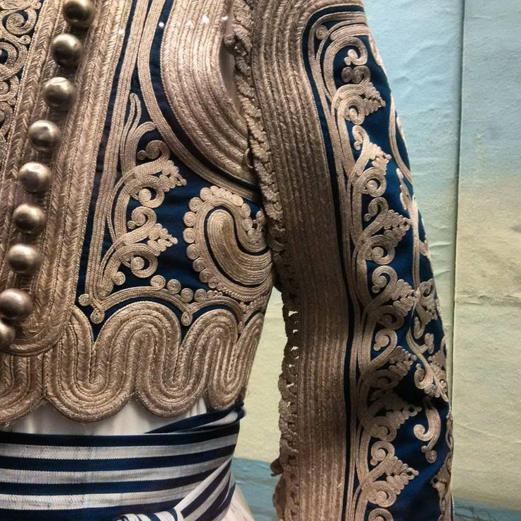 Detail of a traditional Greek ceremonial man's costume (upper class), ca. 1830.  Gold embroidery in late-Ottoman Balkan style. (Benaki Museum, Athens).