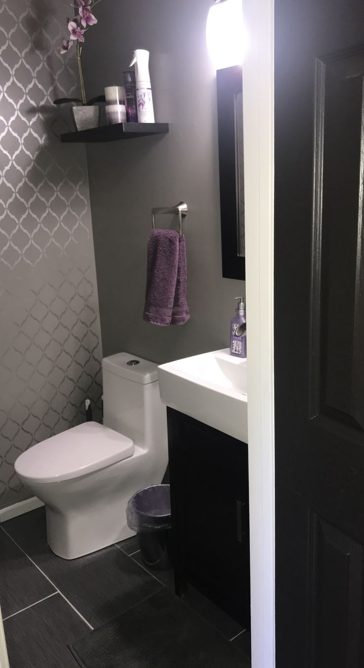 Gray And Purple Finally Finished Powder Room Paint Is Behr Elephant Skin With Diy Accent Purple Bathroom Decor Purple Accent Wall Bedroom Purple Bathrooms [ 1350 x 736 Pixel ]