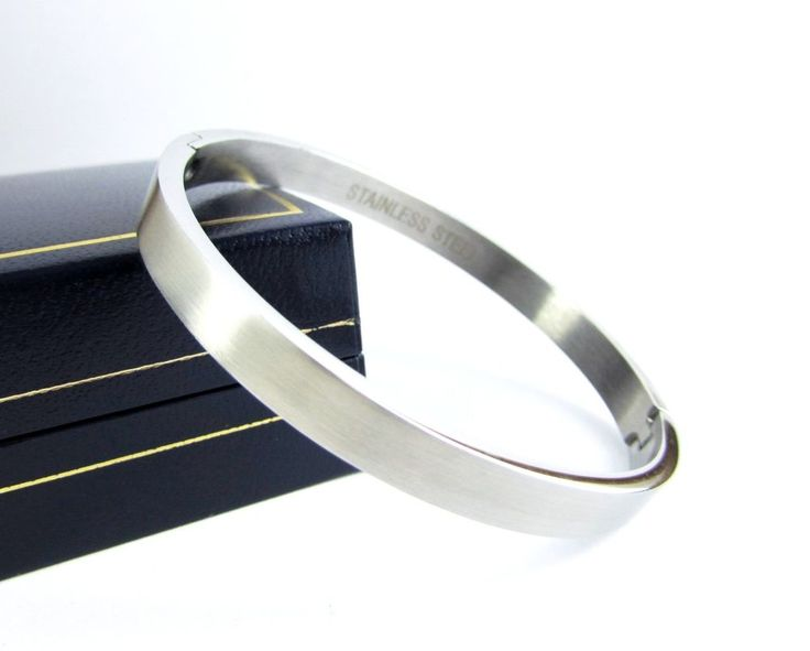 Plain solid stainless steel polished bangle