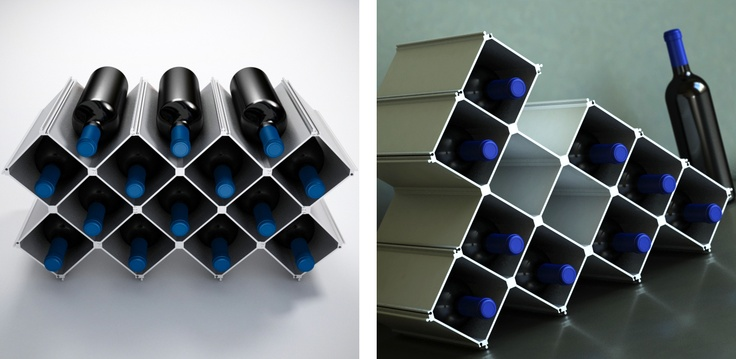 Modular wine rack Nucleus Large.  32 aluminium elements and 8 floor protection strips for 14 bottles.