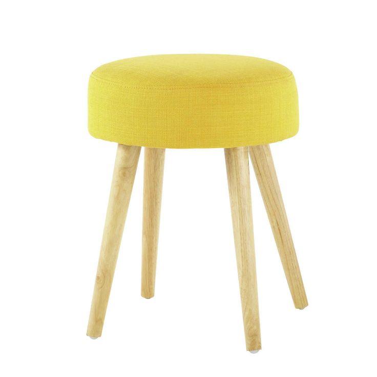 Tabouret en tissu et bois jaune bois PIN'UP | Maisons du Monde