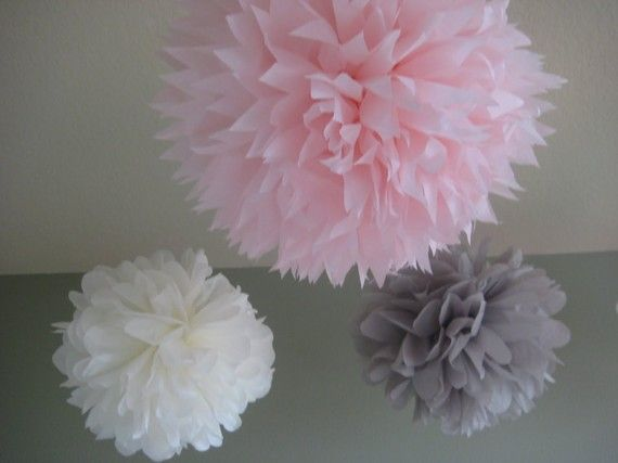 pink and gray tissue poms