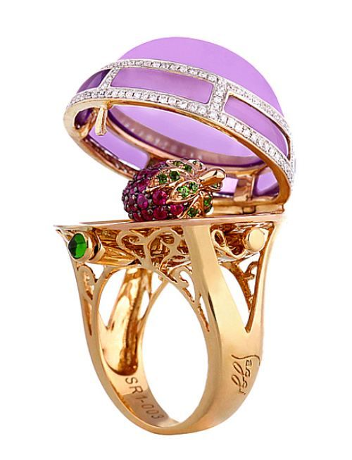 14K gold locket ring in purple jade with rhodolite garnet berry inside and white topaz and chrome diopside accents by Faberge