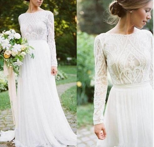 Gorgeous 2019 Appliques Lace A Line Boho Wedding Dresses With Sheer Long Sleeves V Neck Garden Country Bridal Gowns Zipper Up Back Vestidos