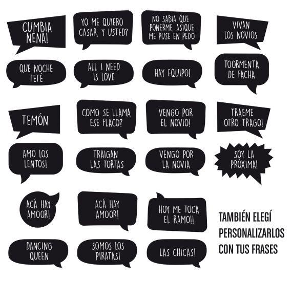 20 Carteles Photo Booth Con Frases - Algo Azul - Casamiento - 801913
