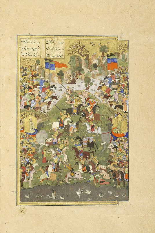 Talhand dies during the battle against his brother, Gav Ferdowsi, Shahnameh Herat, c.1444 Patron: Mohammad Juki b. Shah Rokh Opaque watercolour, ink and gold on paper