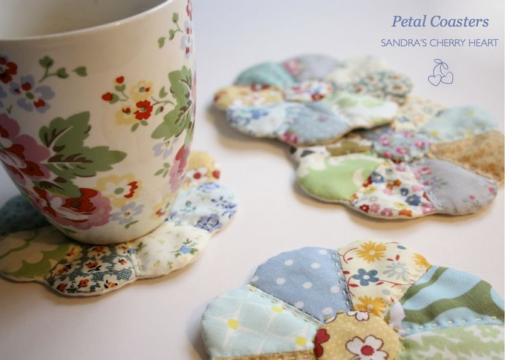 Petal Mug Rugs ~ Cherry Heart -- I'm going to make one of these for me out of my precious 30's fabric.