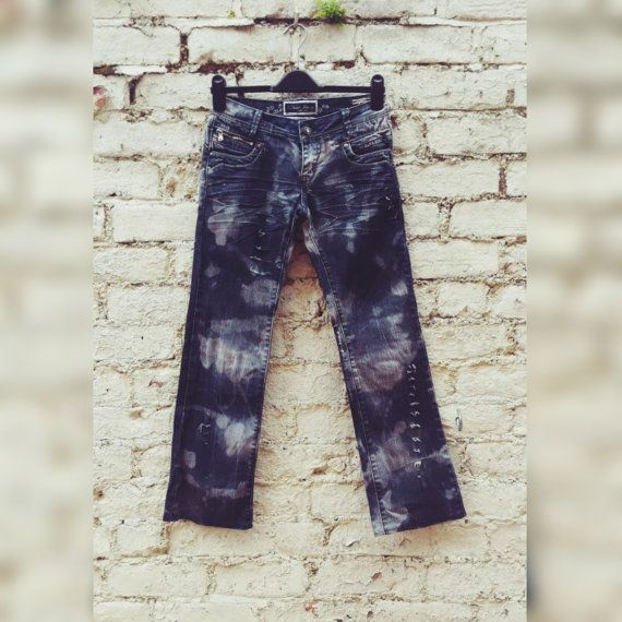 Ripped Jeans Womens Blue Bleach Jeans to fit UK size 8 Petite or US size 4 XS Autumn Fashion
