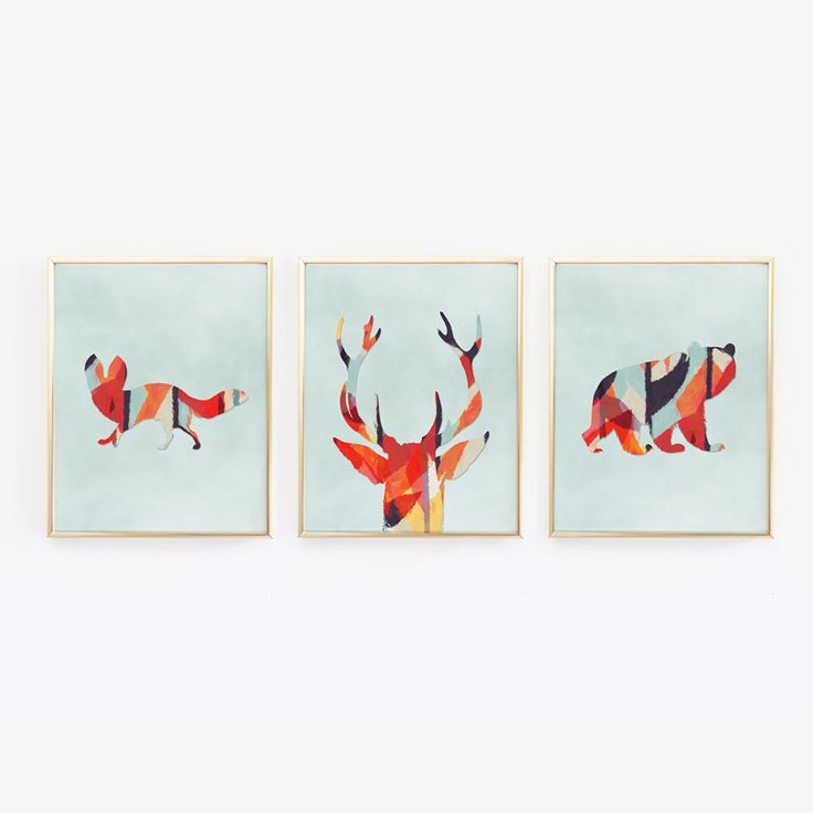 These 3 prints would be great for a woodlands themed nursery. Includes a beer, fox and antlers. The background is a light watercolor blue. The inside of the animals is a watercolor painted look with a