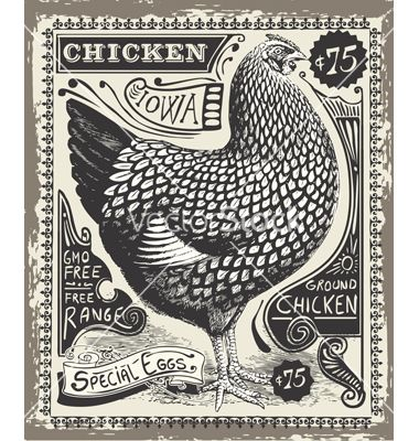 Vintage Poultry and Eggs Advertising Page on VectorStock