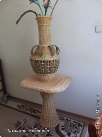 Интерьер Плетение Столик для вазы Трубочки бумажные фото 8
